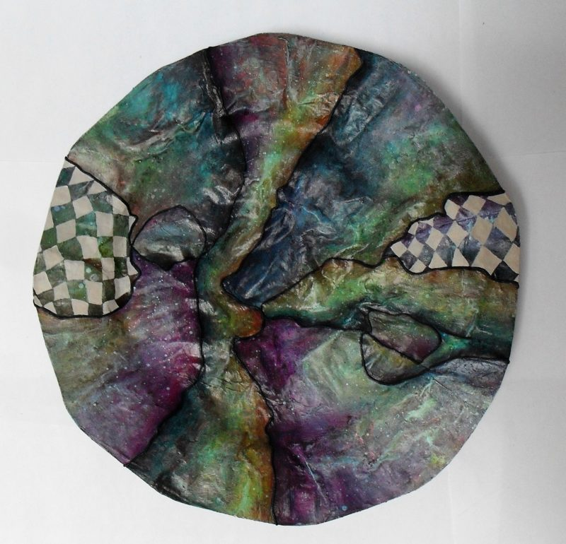 Bowl made of paper mache, painted with acrylics, varnished with yacht varnish art and design by lia van Elffenbrinck. This one is more like a Platter.