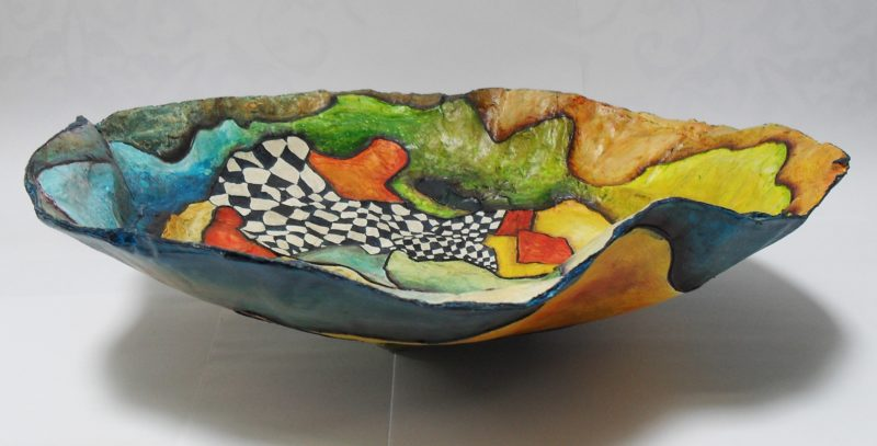 Bowl made of paper mache, painted with acrylics, varnished with yacht varnish art