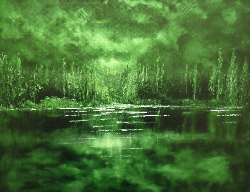 Nightlight, oil painting on black canvas by Lia van Elffenbrinck painter, green night sky behind a forest and some bushes. In the foreground is a deep lake.