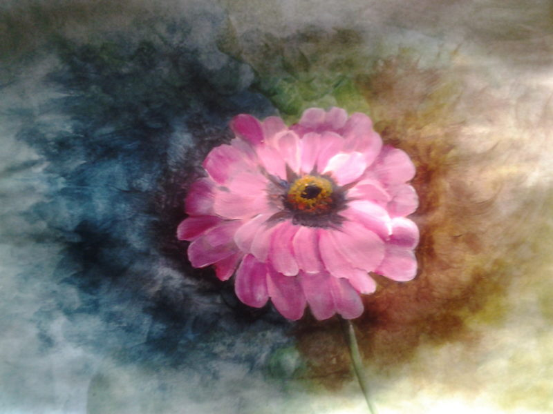 Acrylic Flower Painting of a Zinnia on paper by Lia van Elffenbrinck