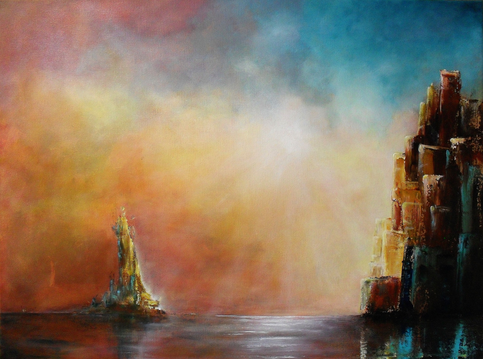 Standing Up, statue standing in the water next to a high city, the sunlight in the colourful sky gives the water a silvery shine. abstract painting oils and acrylics on canvas 80x60cm.
