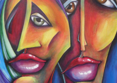 Two Women (Ode to Michael Lang) abstract painting of two female faces. The women are painted frontal, they are looking at you, very coloured as they are you will look back. They have sad facial expression as if they carry a hidden secret, canvas 40x50cm.