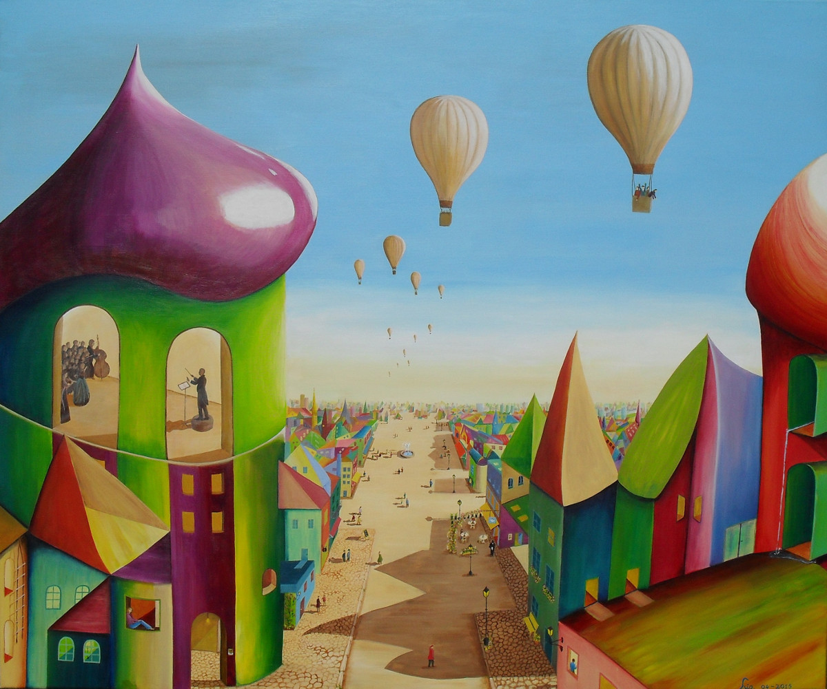 The surprised House painting of a colourful fantasy city in the daylight. Hot air balloons in the blue sky, a broad ocker road in the middle to the horizon, houses in all colours and shapes, in the front a round tower with windows where you see Richard Wagner as a director, on canvas 120x100x4cm. by Lia van Elffenbrinck