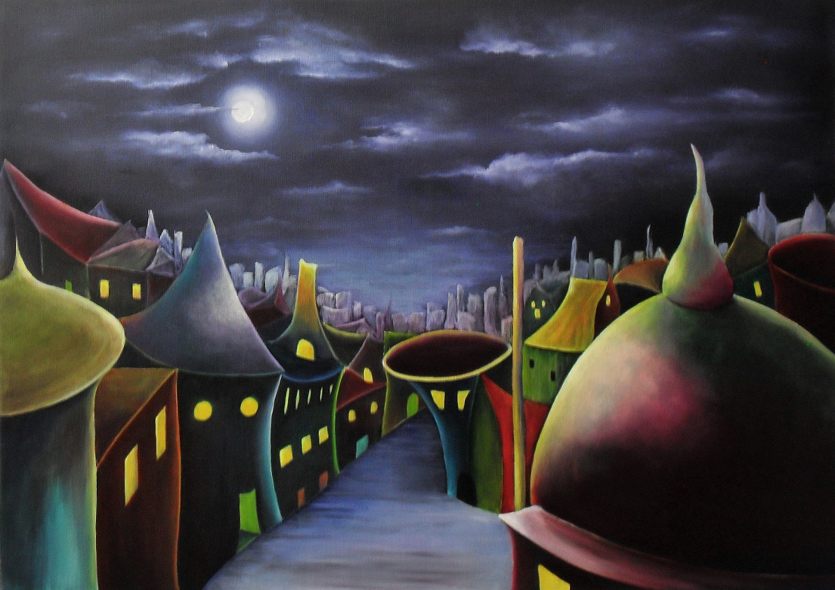 Painting about a City at night like a fairytale, blue in the back and colourful in the front oils on canvas by Lia van Elffenbrinck