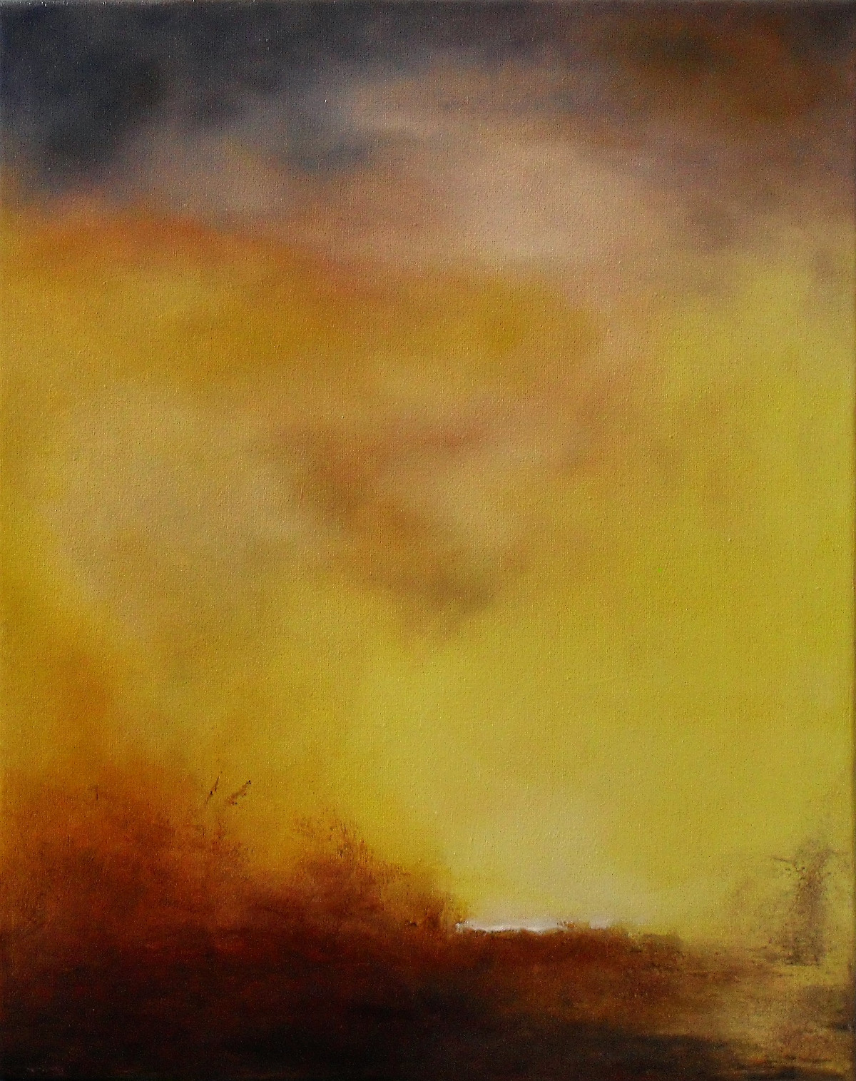 Moment of Light, oil on canvas by Lia van Elffenbrinck, Yellow Light above the horizon.