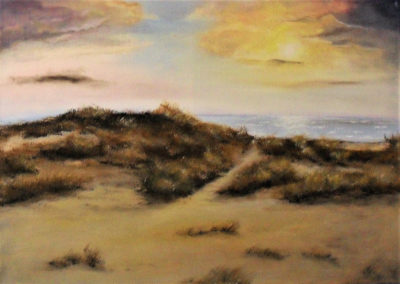 Peace of Mind Painting by Lia van Elffenbrinck, Seascape with dunes, horizon with a golden sun