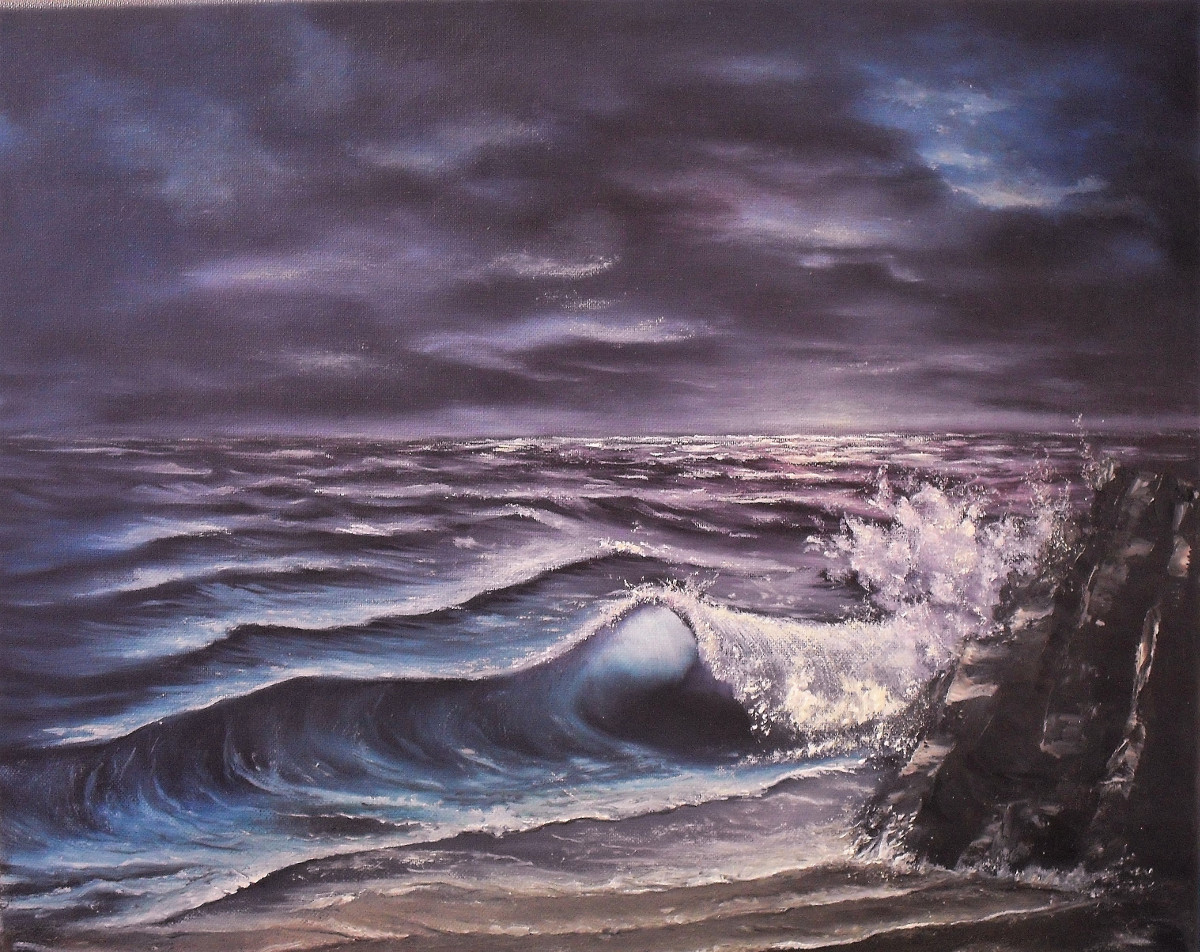 Deeper Shades of Night, Oil on canvas 50x40cm. Painting by Lia van Elffenbrinck, blue and purple waves at the beach at night time