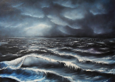 Flooding Clouds. Oil painting on black canvas of a boisterous ocean in blue, grey, purple and white. The waves are rolling towards you. The clouds are threatening. Canvas 50x40cm. by Lia van Elffenbrinck