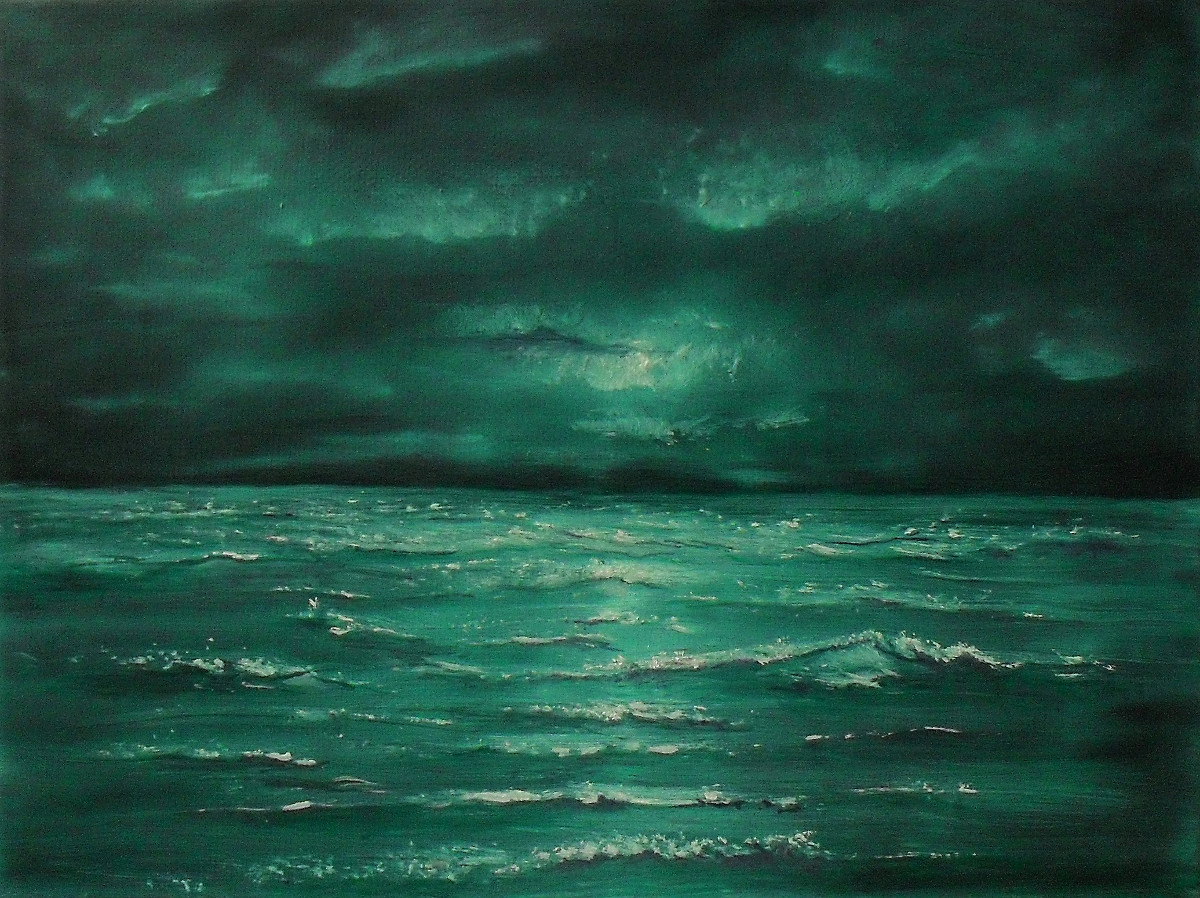 Gloom at Sea. Oil painting on a black canvas of a turquoise ocean at night, with the light of a pale white moon. Canvas 24x18cm. by Lia van Elffenbrinck.