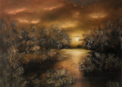 Night Elegance. Oil painting about a little lake at night. The moon is shining towards you. It must be spring because the brown trees and bushes are blooming. The yellow orange light gives you a warm feeling. Canvas 40x30cm. by Lia van Elffenbrinck.