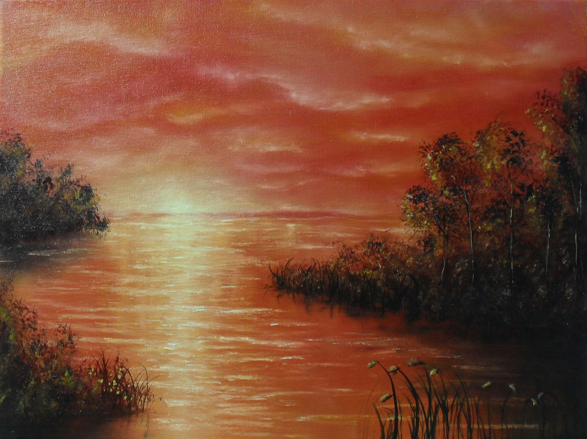 Red Emotion. Oil painting about a lake in orange and red lights at sunset. You can sea the silhouettes of some islands with bushes on it. In the front the buckwheat is blooming. Canvas 40x30cm. by Lia van Elffenbrinck