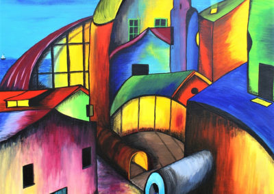 Confused Village. Colourful city, painted with gouache on canvas 50x70cm. by Lia van Elffenbrinck.