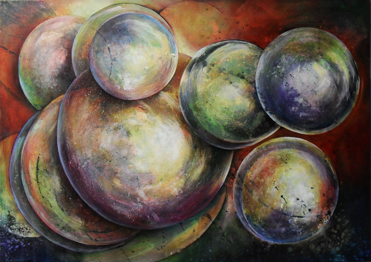 Loosing my Marbles. Abstract painting of lots of coloured marbles floating away. It seems as if they are in a weightless space. Acrylics on canvas, 70x50cm.