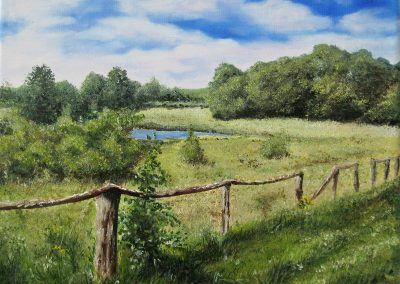 Oil painting of peaceful meadow landscape in northern Germany. Oil on canvas, 24x18 cm.