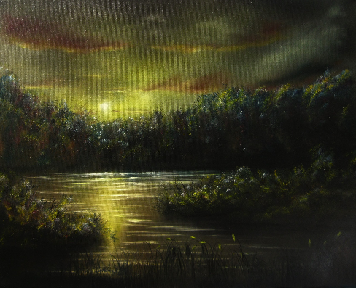 Nightfall. Oilpainting of a little lake or a swamp at night. The moon is shining on the water on the horizon you see trees. In the foreground some wool grass is growing. The colours are yellow blue and red