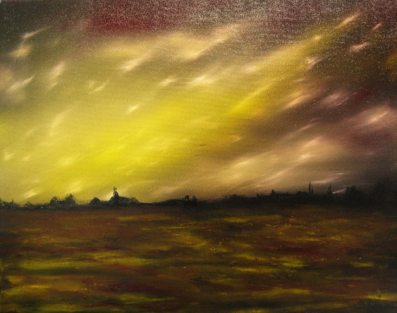 In the Field. Oil painting in the colours brown yellow and purple of a little village in the distance. In the sky you see meteorites which gives this painting a surreal effect.