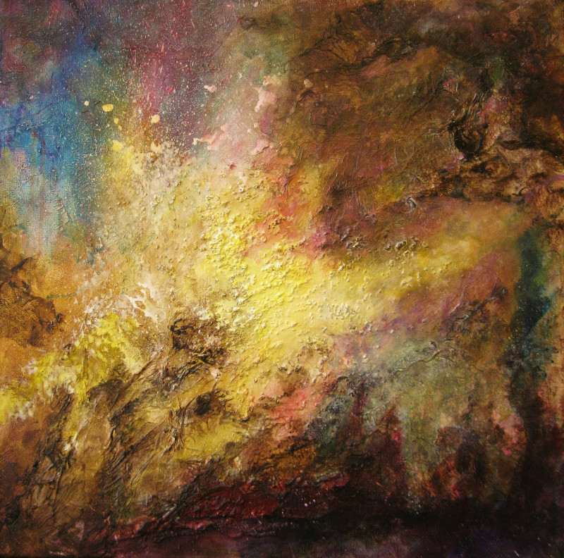 Abstract painting in acrylics, the colours are yellow, brown, blue and purple, called Through the Wormhole. Acrylic painting on canvas 50x50cm.