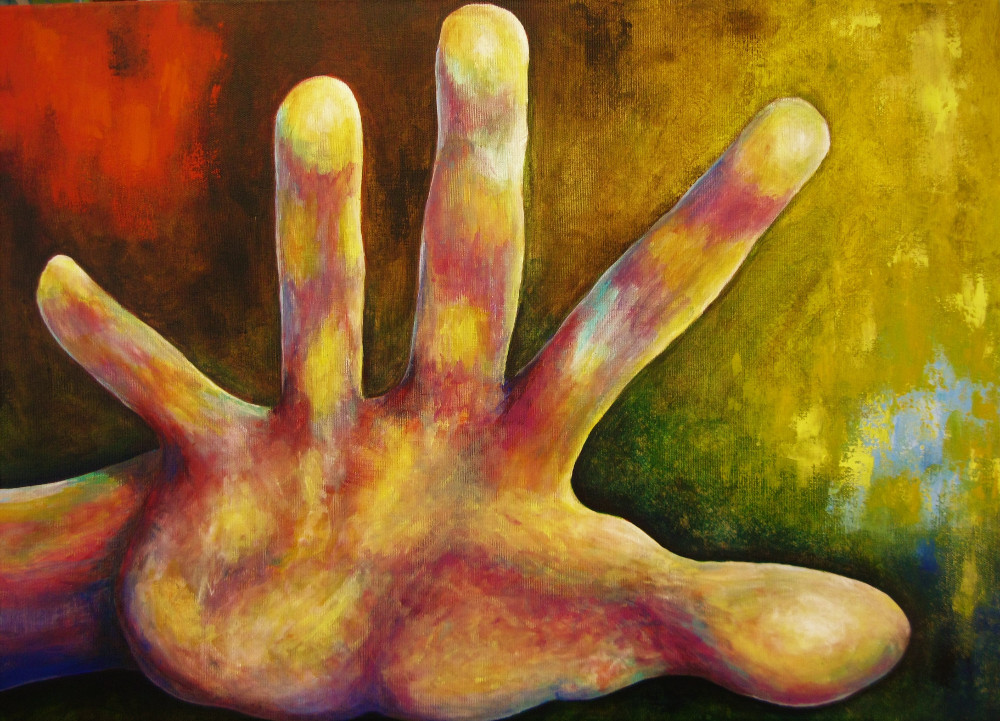 Stop! Acrylic painting of a hand gesturing to stop. It is a pastel colourful hand in yellow and pink in front of a brightly coloured background in red and yellowon canvas 70x50cm.