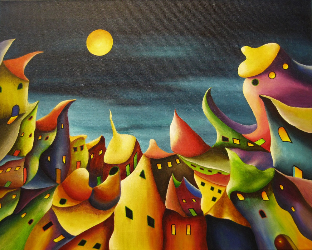 Painting of a colourful fantasy village at night or in the evening. All the coloured houses seem to grow out of the ground. The sky is dark blue and the yellow moon is shining on the weird lovely city. Metamorphosis, acrylic painting on canvas 50x40cm.