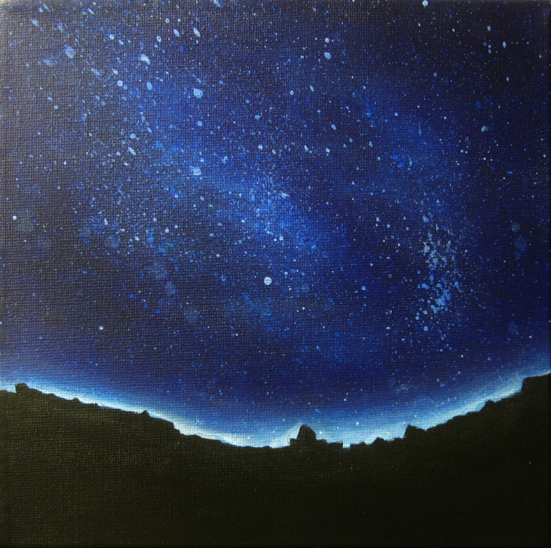 Blue Night acrylic painting of a dark night with stars. In the foreground you can sea the silhouette of a black town on canvas 20x20cm.