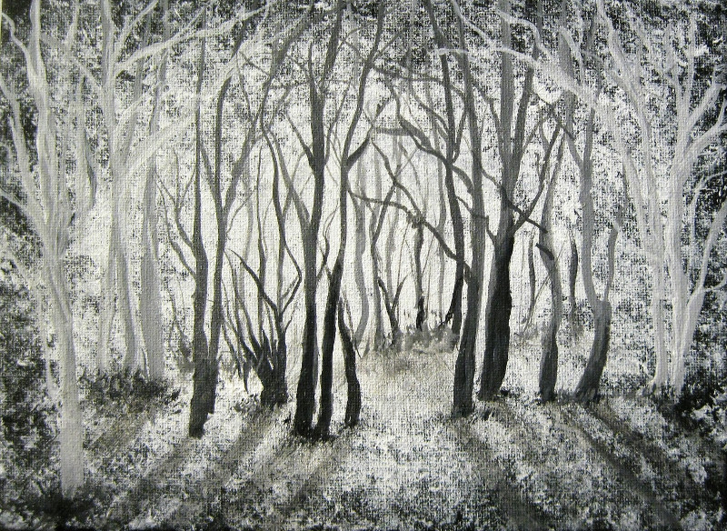 Clearing, acrylic painting on canvas 24x18cm.