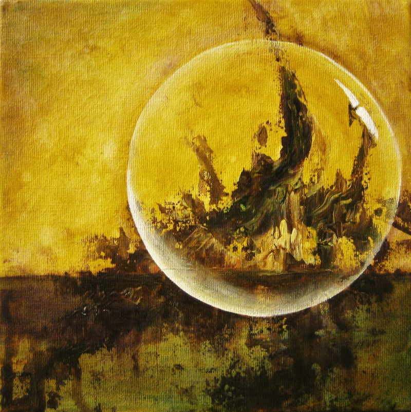 Crystal Ball abstract acrylic painting of a crystal ball in front of an island on yellow with green background canvas 20x20cm.