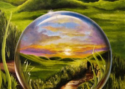 Fairy Tale. Painting of a landscape refelected in a water drop