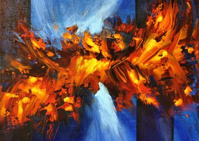Fire and Ice abstract painting of orange splashes on a blue background with vertical lines on canvas 20x20cm.