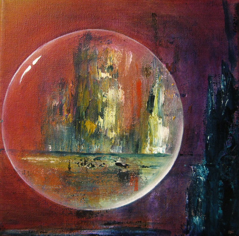Floating Stability abstract acrylic painting of a crystal ball in front of abluish island on a red with purple background canvas 20x20cm.