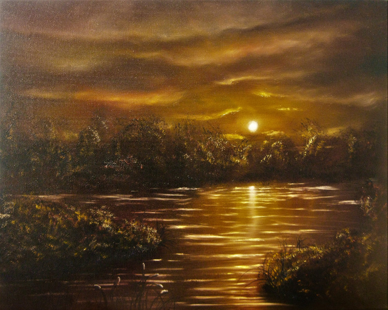 Golden Morning Oilpainting of a little lake or a swamp in the morning. The sun is shining on the water on the horizon you see trees. In the foreground some wool grass is growing. The colours are yellow and burned sienna.
