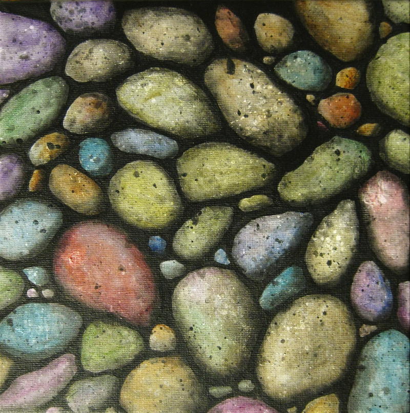 More Stones, coloured acrylic painting of realistic stones on canvas 20x20cm.