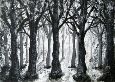 Mystic acrylic painting of a black an white forest on canvas 20x20cm.