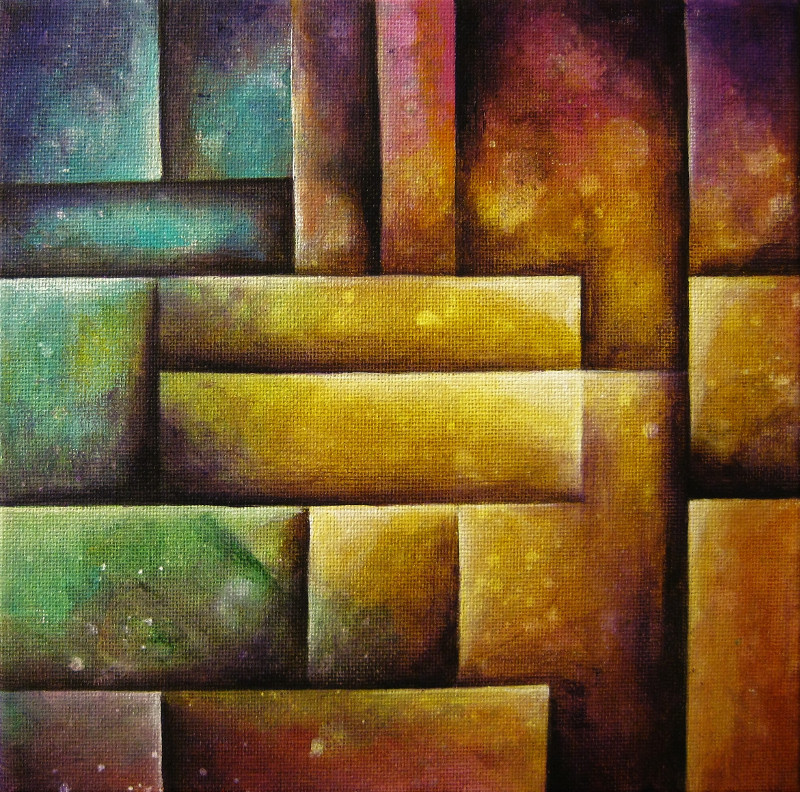 Patchwork, abstract geometric painting of coloured squares on canvas 20x20cm.
