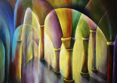 Colourful semi-abstract painting of Pillars with light behind them. Painting on canvas 50x40cm.
