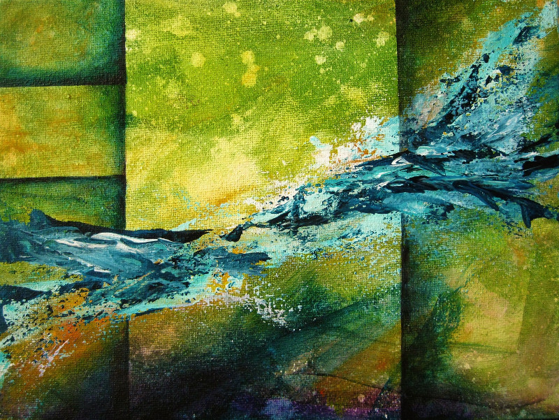 Spirit abstract painting of blue splashes on a green background with vertical and horizontal lines on canvas 24x18cm