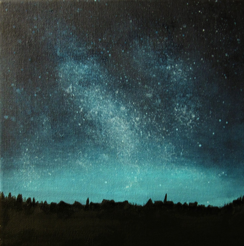 Stars, dark night acrylic painting on canvas 20x20cm.