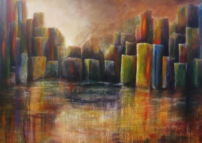 The Colorfield Shadows abstract painting of a colourful city at the waterside on wood 120x120cm.