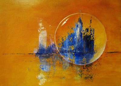 Tower in Blue, abstract acrylic painting of a crystal ball in front of a blue island on yellow orange background canvas 24x18cm.