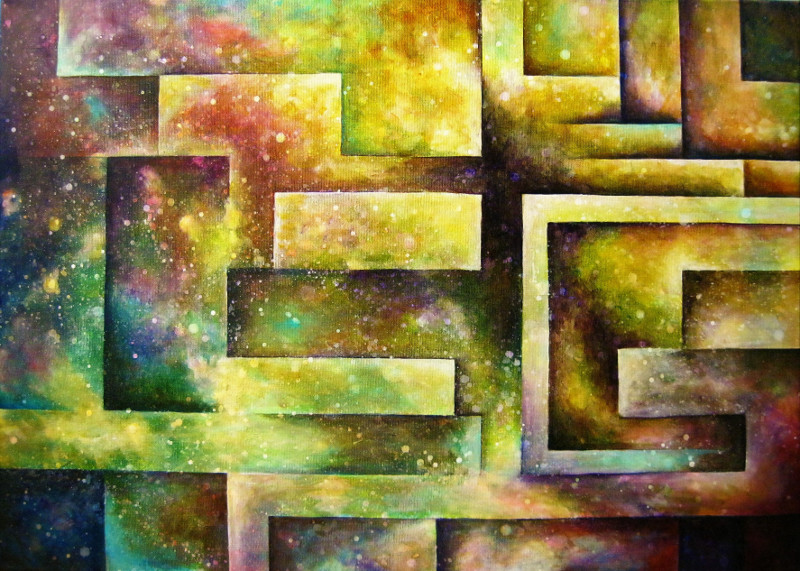 Amazing Maze, colourful acrylic painting of geometric figures like a labyrinth on canvas 70x50cm.