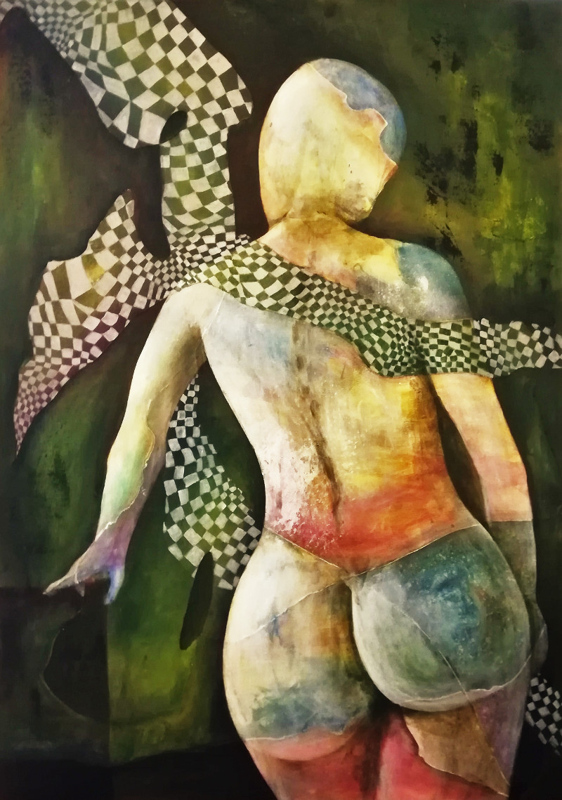 Any Way the Wind Blows, acrylic painting of a nude woman from behind with her bare buttocks. A checkered shawl is blown around her shoulders. on canvas 50x70cm.