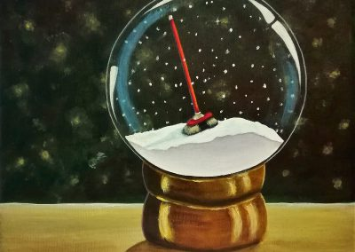 Broom. This is the painting of the favorite toy which I painted in the snowglobe.