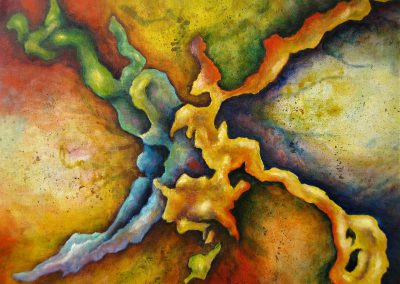 Connection, very colourful acrylic painting of a whimsical movement in front of a colored background on canvas 50x40cm.