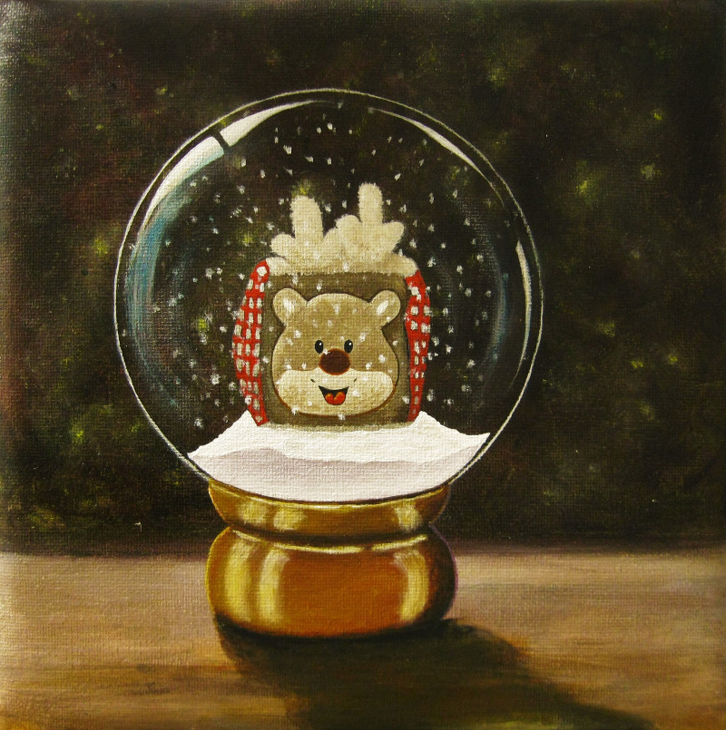 Eiga. This is the painting of the cuddly toy which I be painted in the snowglobe.