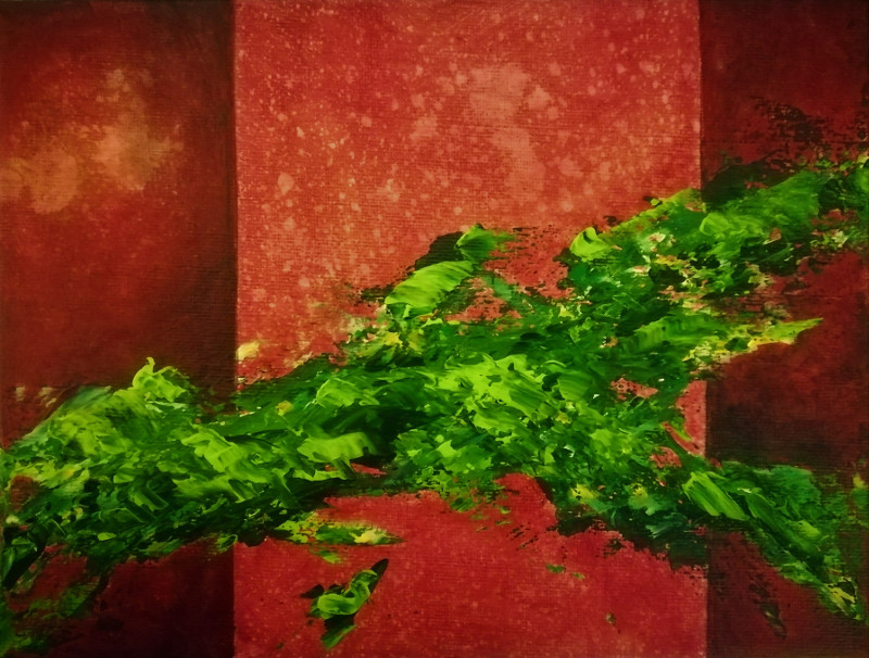 Green Verve, abstract painting of green splashes on a red background with vertical lines to give it more depth, canvas 24x18cm