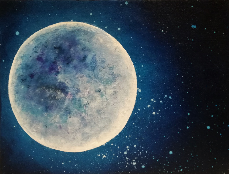 Acrylic painting of a full moon in a dark night on a small canvas 24x18cm. called Illuminated.