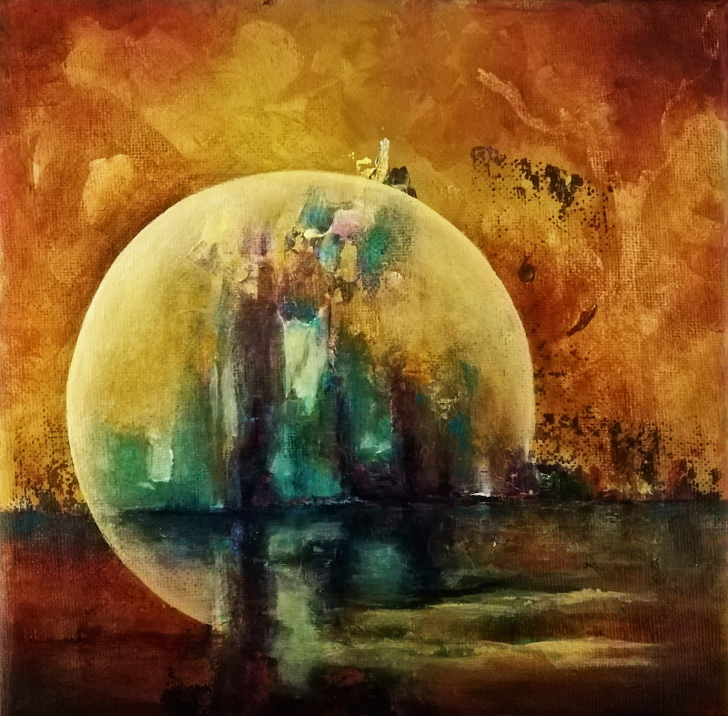 Acrylic painting on a small canvas, 20x20cm. It is a mood painting. You can see a big yellow moon as a mirror of a town far away