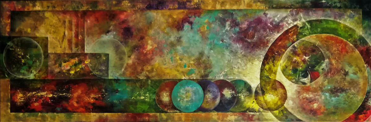 The Order of Chaos, very colourful acrylic textured painting. It looks like a mess of colours, but in these colours you can discern circles and rectangles who make order in the chaos. Canvas 120x40cm.