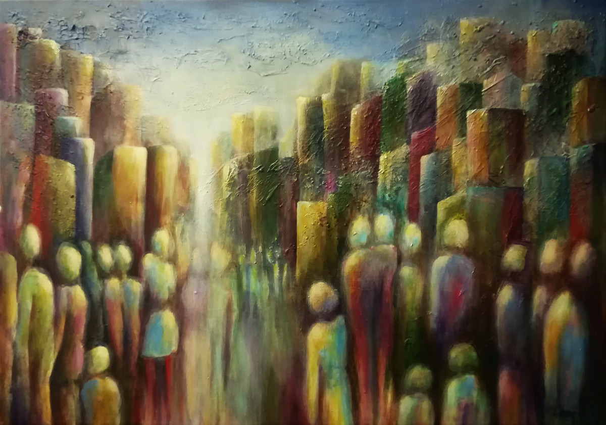 Meeting Downtown, textured acrylic painting of many vague people seen on the back going to the town behind them. The light is shining allthough not sunny yellow, but more like a greyish blue colour; painted on canvas 70x50cm.