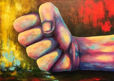 Right Now! Acrylic painting of a hand gesturing to stop right now. It is a pastel colourful hand in yellow and pink in front of a brightly coloured background in red and yellowon canvas 70x50cm.