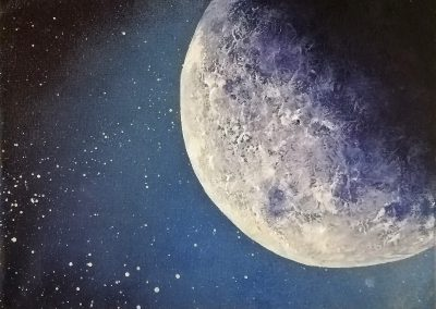 Acrylic painting of a half moon in a dark night on a small canvas 24x18cm. called The Moon.